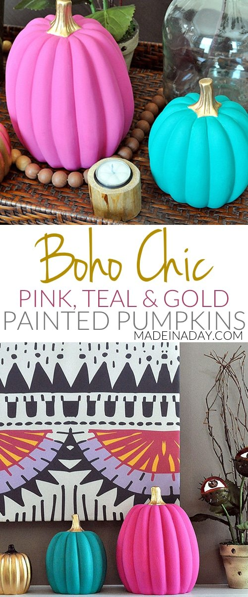 DIY #Boho Chic #Pink Teal Gold Painted #Pumpkins, #ad, bohemian pumpkins, pink pumpkin, teal pumpkin,