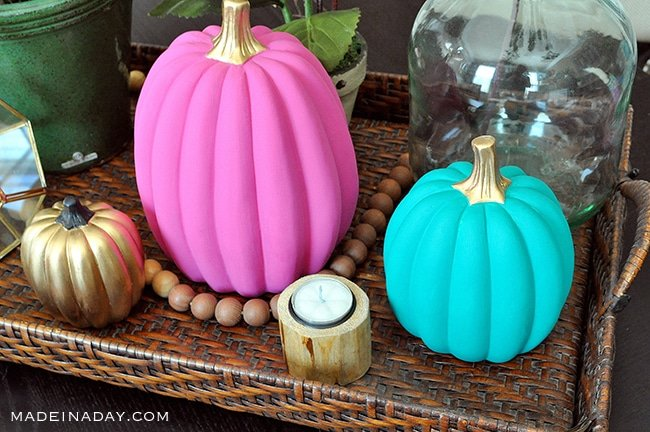 DIY Boho Chic Pink Teal Gold Painted Pumpkins, pink painted pu