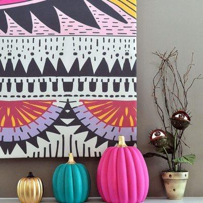 DIY Boho Chic Pink Teal Gold Painted Pumpkins