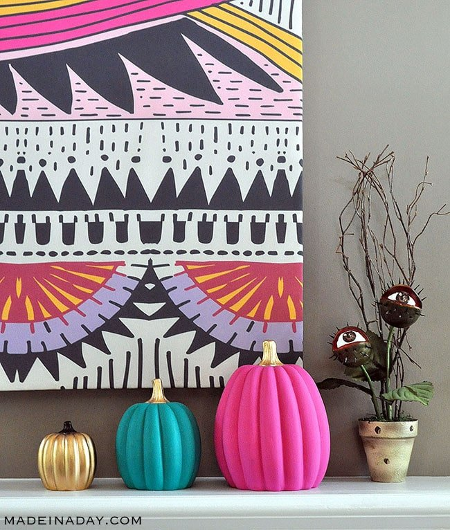 Boho Pink Teal Gold Painted Pumpkins, colorful pumpkins