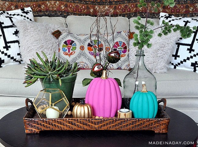 Boho Chic Painted Pumpkins, pink painted pumpkin, teal painted pumpkin,