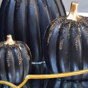 Enchanted Gold and Black Beaded Pumpkins 31
