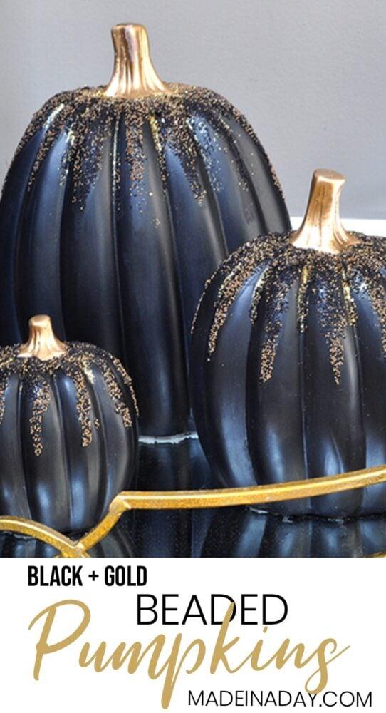 black beaded pumpkins