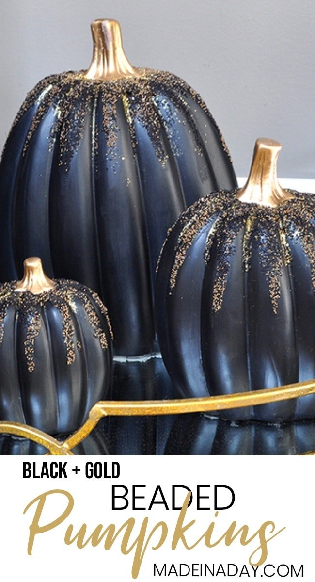 Painted Beaded Black Pumpkins