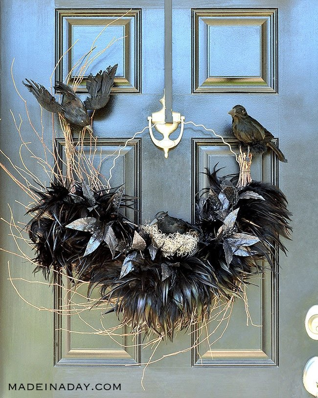 Ravens Nest Halloween Wreath, crows nest, crow wreath, Halloween Wreath, #halloween, Feather wreath, hoop wreath, birds nest wreath, Halloween, Halloween decorations #crow #raven #spooku #nest #birds #feather