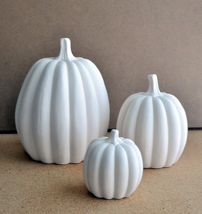 white ceramic pumpkin set, paint ceramic pumpkins