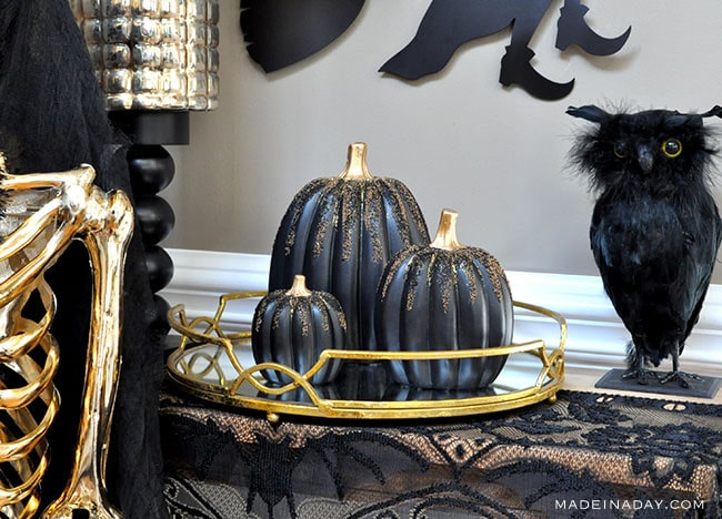 DIY Beaded Glitter Black Pumpkins