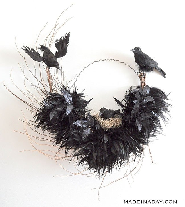 Tantalizing Ravens Nest Halloween Wreath 7