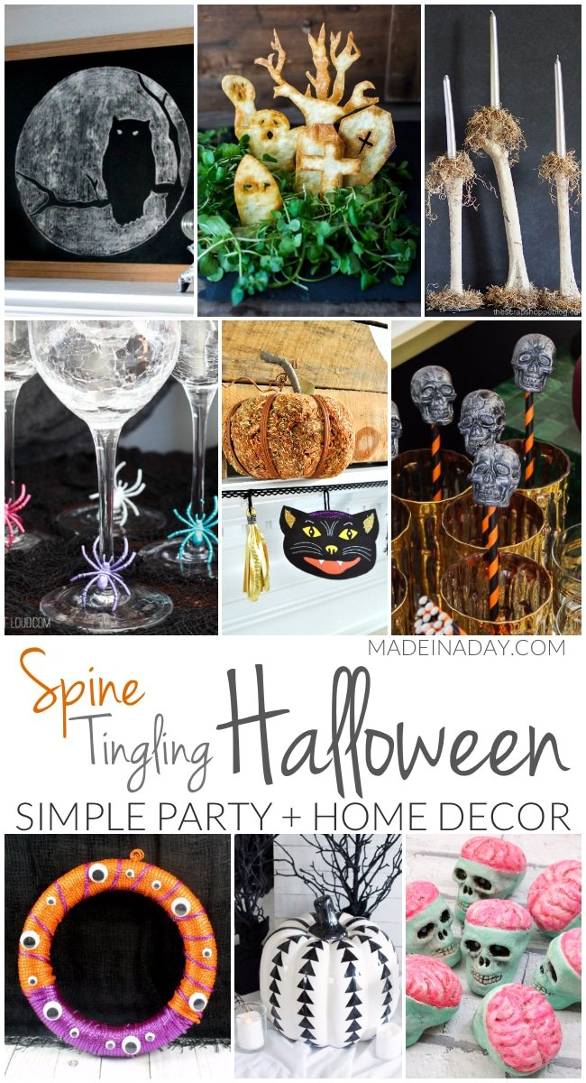 Simple Spine Tingling Halloween Party Decor, vintage printables, wine glass tags, skeleton drink stirrers,  googly eye wreath, tortilla tombstone dip, bone candles,#halloween