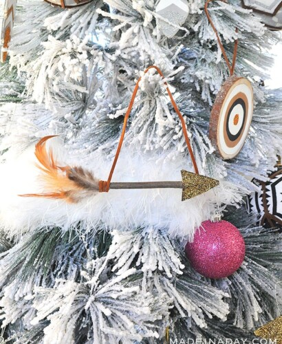 Sparkling Rustic Leather Feather Arrow Ornaments 31