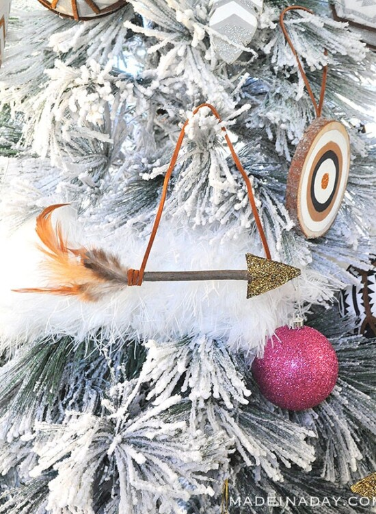 Sparkling Rustic Leather Feather Arrow Ornaments 32