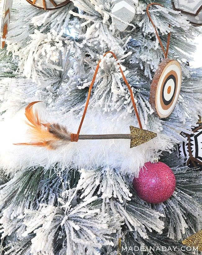 Leather Feather Arrow #Ornament, #arrow, feather arrow, glitter arrow, DIY arrow, #Christmas arrow ornament #Boho holiday tree, boho Christmas tree boho ornament