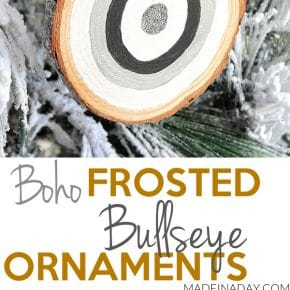 Frosted Wood Slice Glitter Bullseye Ornaments 1