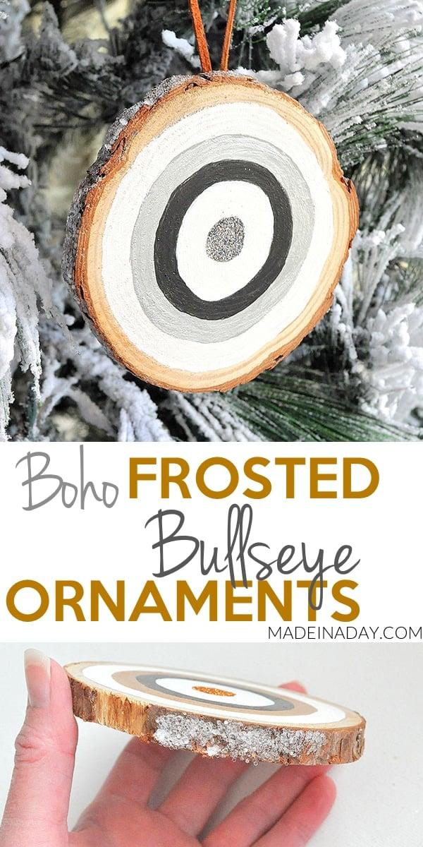 Frosted Glitter #Bullseye Ornaments, bullseye, #boho ornament, bohemian #ornament, black white ornament, tribal ornament
