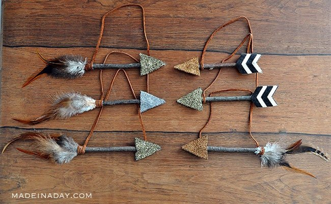 leather feather arrow Christmas ornament