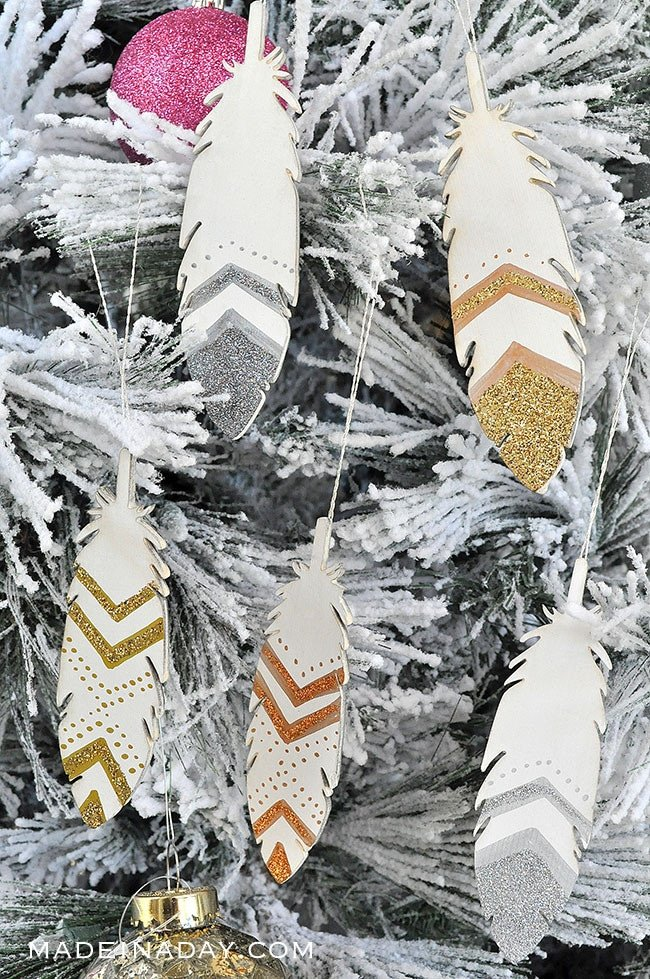 Glitter Painted Feather Ornaments, #feather #ornament, boho feather, painted feather, wood feather,