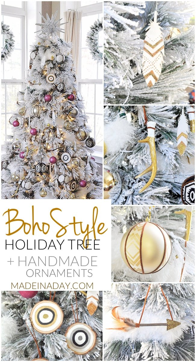 boho style holiday tree with handmade ornaments