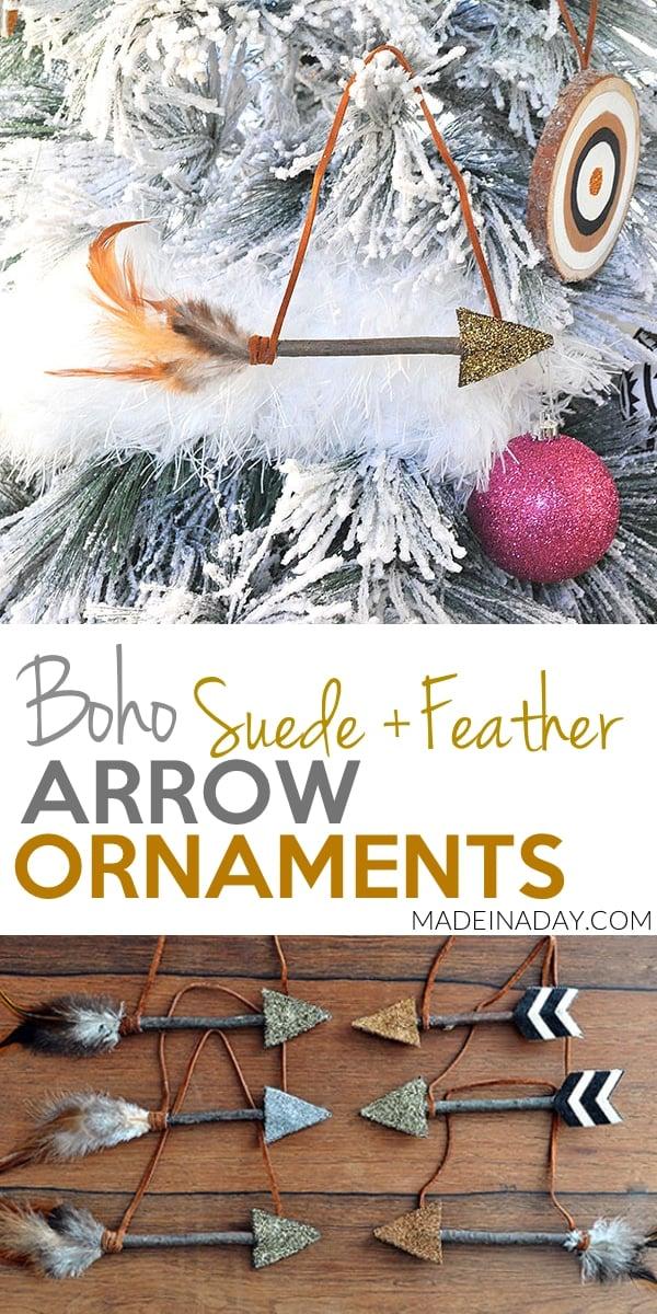 Leather Feather Arrow #Ornaments, #arrow, feather arrow, glitter arrow, DIY arrow, #Christmas arrow ornament, #boho Christmas tree, boho ornament,