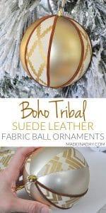 Rustic Boho Fabric Suede Tribal Ball Ornament 1