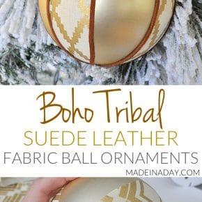 Rustic Boho Fabric Suede Tribal Ball Ornament 31