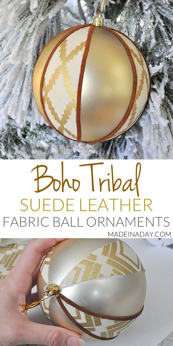 Boho Fabric Suede #Tribal Ball Ornament, An easier way to make fabric ball ornaments with a #boho vibe, handmade #ornament, leather ornament, suede ornament,