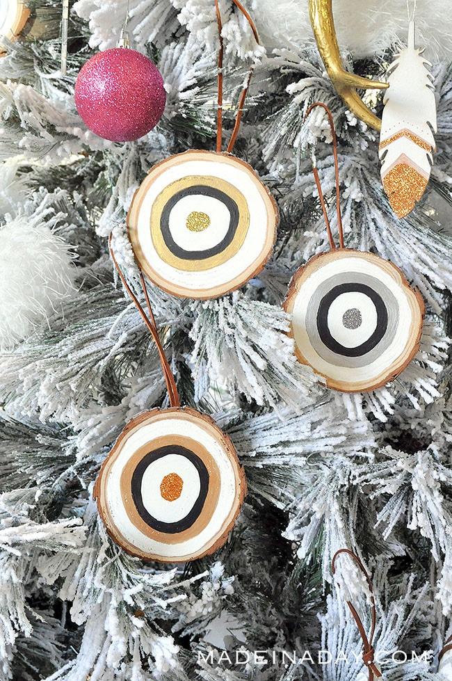 bullseye Christmas tree ornaments, bohemian ornament,