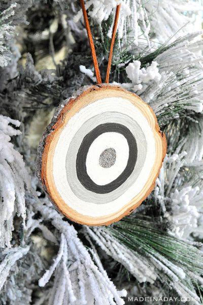 Frosted Glitter Bullseye Ornaments