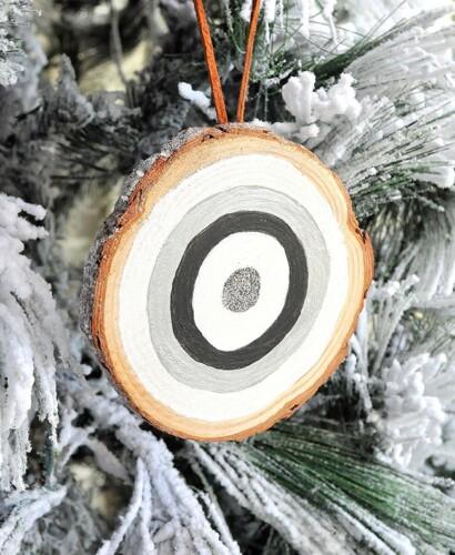 Frosted Wood Slice Glitter Bullseye Ornaments 32