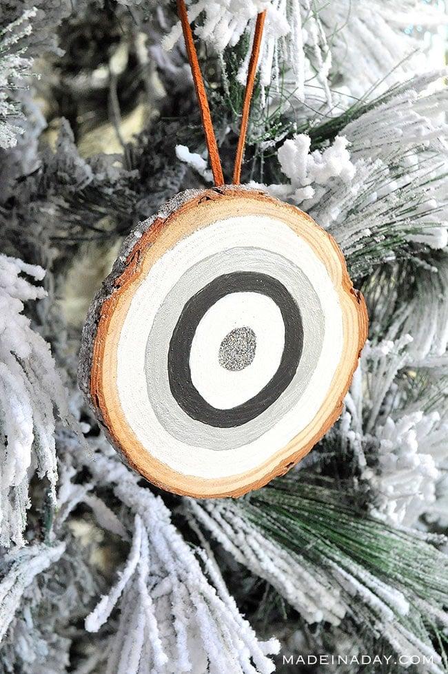 frosted bohemian bullseye ornament, boho ornament, bohemian ornament