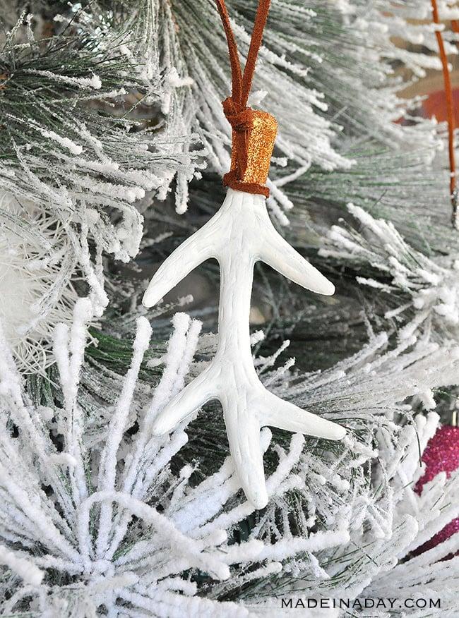 white boho antler ornament, boho ornament, rustic ornament,