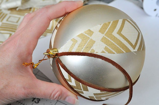 glue suede cording on ornament, fabric ball ornament