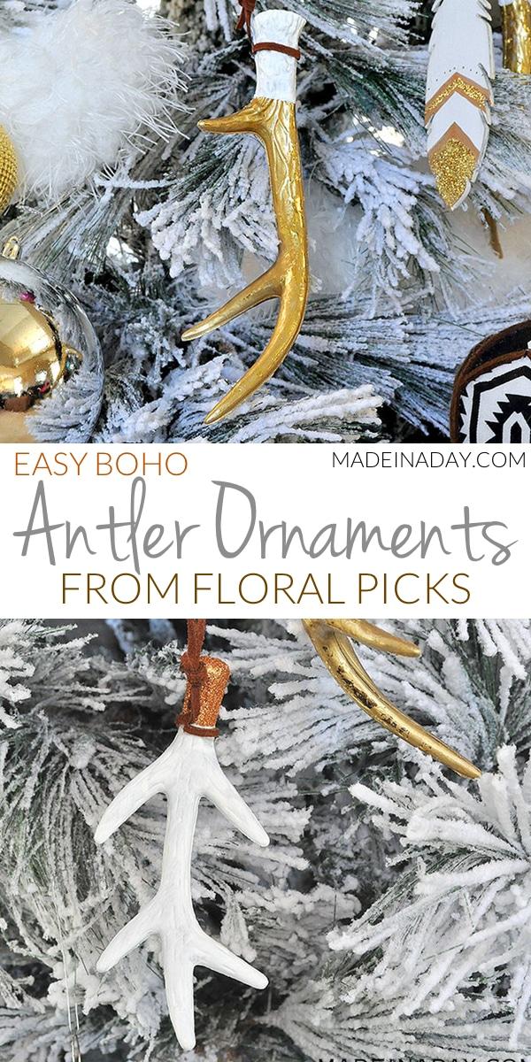 Gorgeous Antler Tree Ornaments Using Floral Picks, #antler, #Christmas #ornaments gold antler, #boho glitter antlers, deer antler ornament