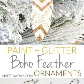 Sparkling Glitter Painted Feather Ornaments 1