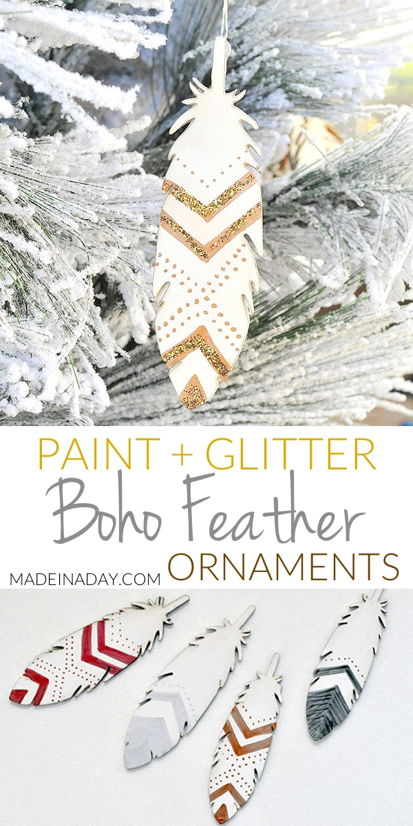 Glitter Painted Feather Ornaments, #feather #ornament boho feather, painted feather, boho #Christmas decor, wood feather,