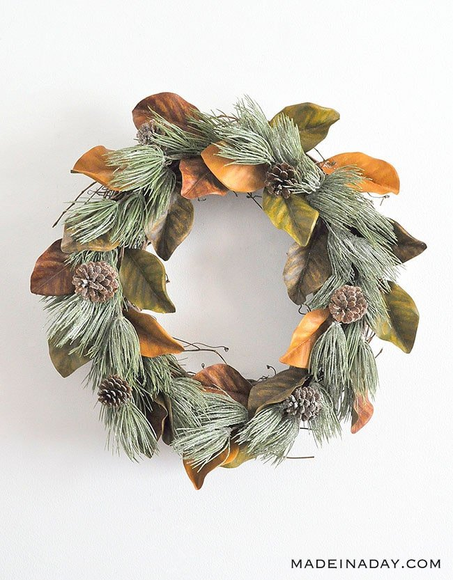 Winter Frost Magnolia Farmhouse Wreath, Magnolia Wreath, frosted pinecone wreath,