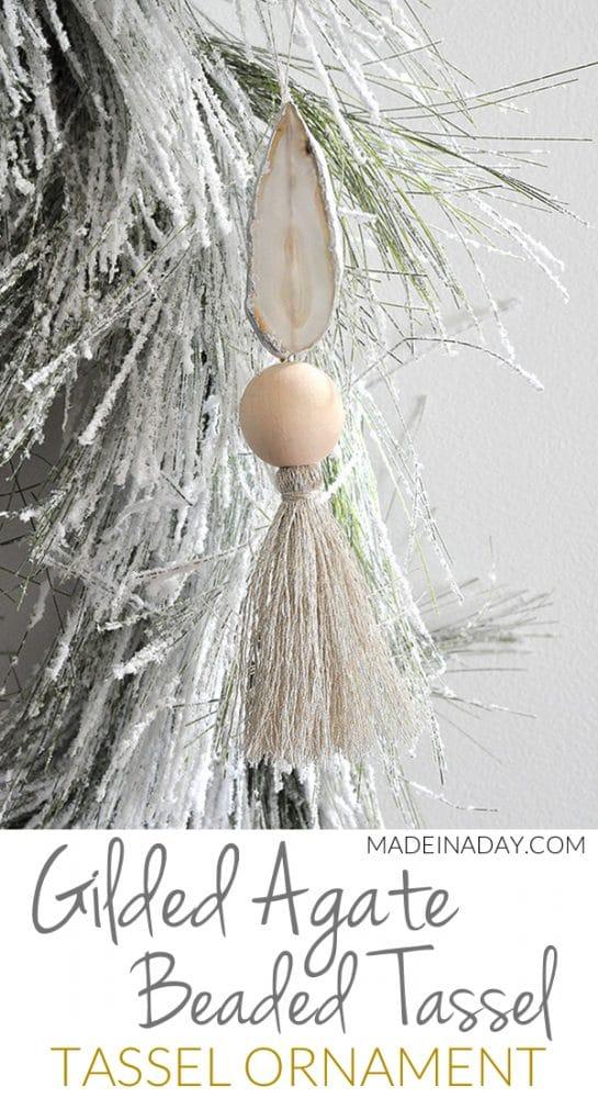 Gilded Agate Wood Bead Tassel Ornament