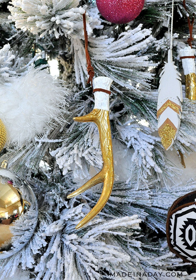 boho antler ornaments, gold antler ornament, bohemian antler ornament