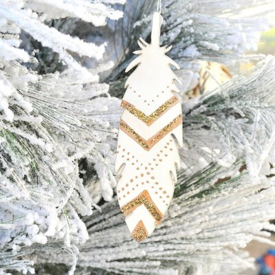 Glitter Painted Feather Ornaments