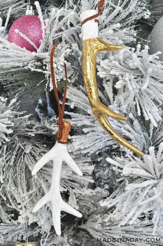 white gold antler ornaments, DIY Antler ornament, white antler ornament,