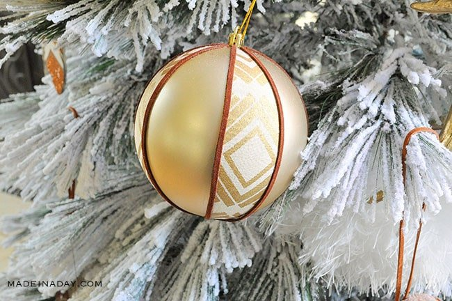 Boho Ornament, Fabric Suede Tribal Ball Ornament, An easier way to make fabric ball ornaments with a #boho vibe handmade #ornament