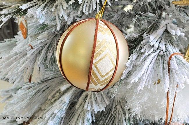 Boho Ornament, Fabric Suede #Tribal Ball Ornament, An easier way to make fabric ball ornaments with a #boho vibe handmade #ornament