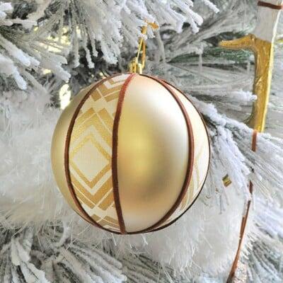Boho Fabric Suede Tribal Ball Ornament