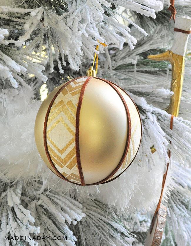 Rustic Boho Fabric Suede Tribal Ball Ornament