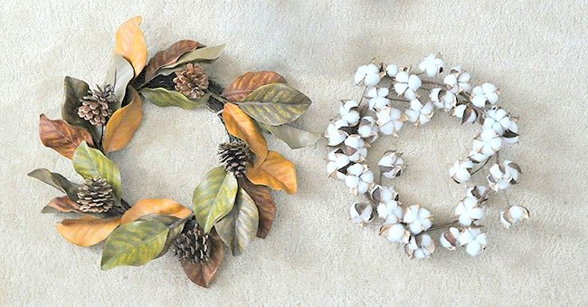 magnolia wreath and cotton wreath