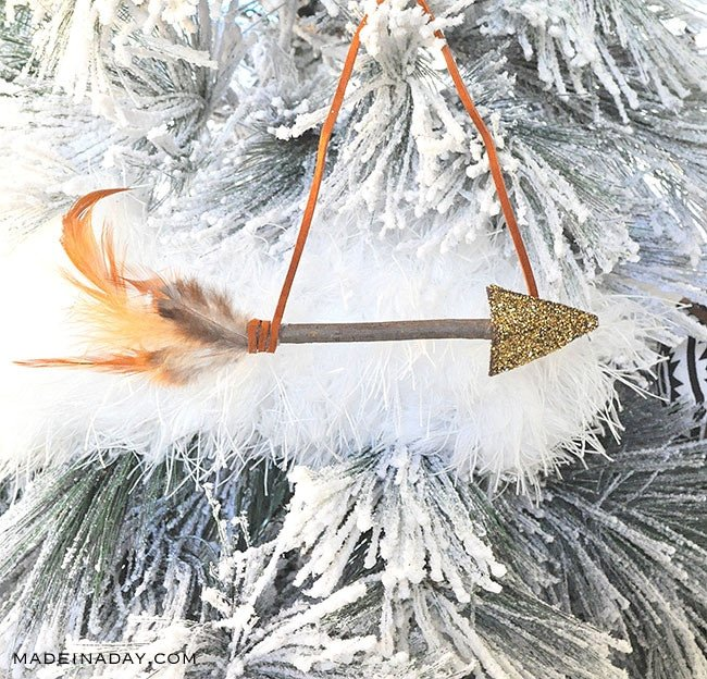 Leather Feather ornament, arrow feather ornament
