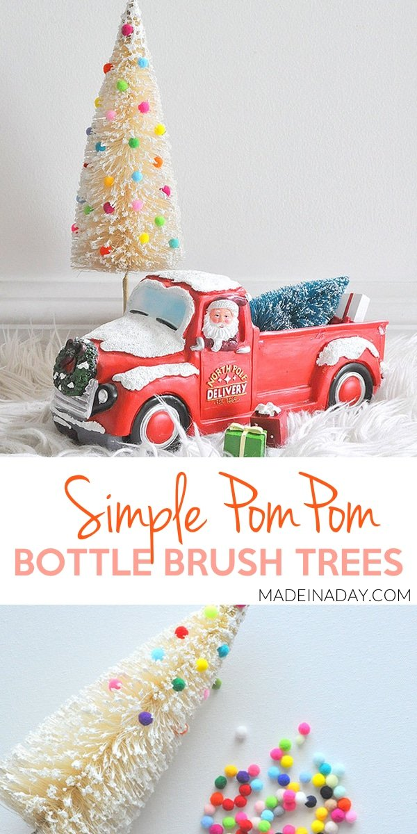 Pom Pom Frosted Bottle Brush Tree, pom pom tree, sisal tree, bottle brush tree, colorful bottle brush tree, mini pom poms #pompom #bottlebrush #christmas #vintage #sponsored