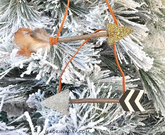 boho leather arrow ornaments
