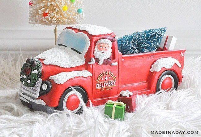 Vintage Truck Christas Decor, red truck