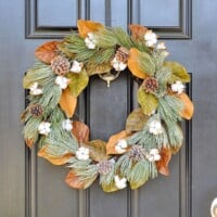 Winter Frost Magnolia Cotton Wreath