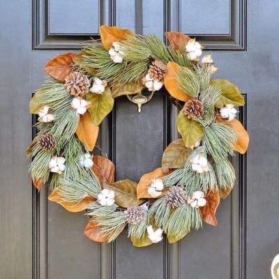 Winter Frost Magnolia Cotton Wreath